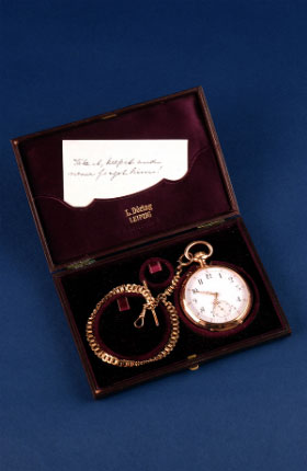Originally belonging to Edvard Grieg this watch was given to Percy Grainger by Nina Grieg in 1907 with a note which reads: 'Take it, keep it and never forget him!'.