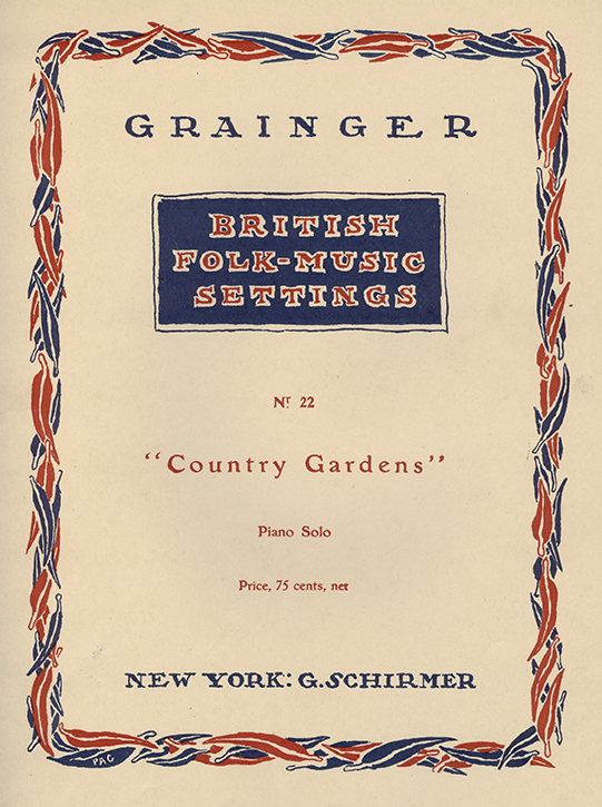 Piano score of Grainger's arrangement of Country Gardens.