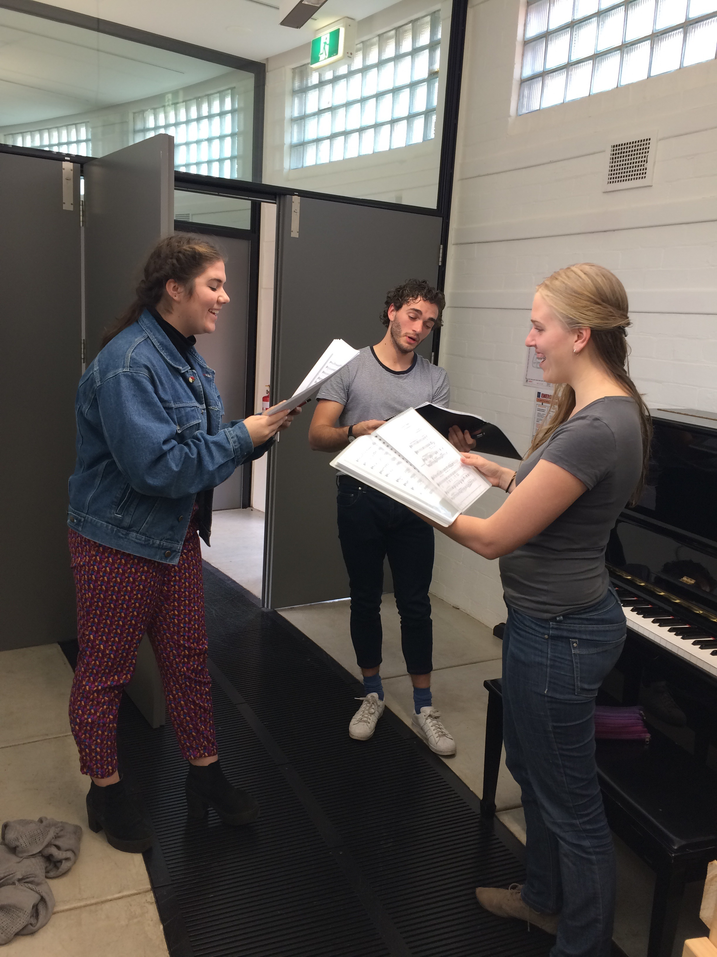 Vocal students rehearsing in the Grainger Museum