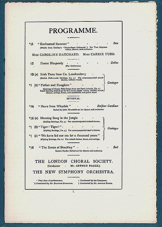 Programme for the first concert in the Balfour Gardiner Choral and Orchestral Concert series, 13 March 1912.