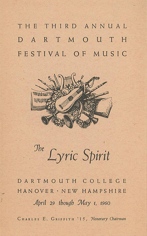 Program for the Third Annual Dartmouth Festival of Music in which Grainger performed for the last time. April