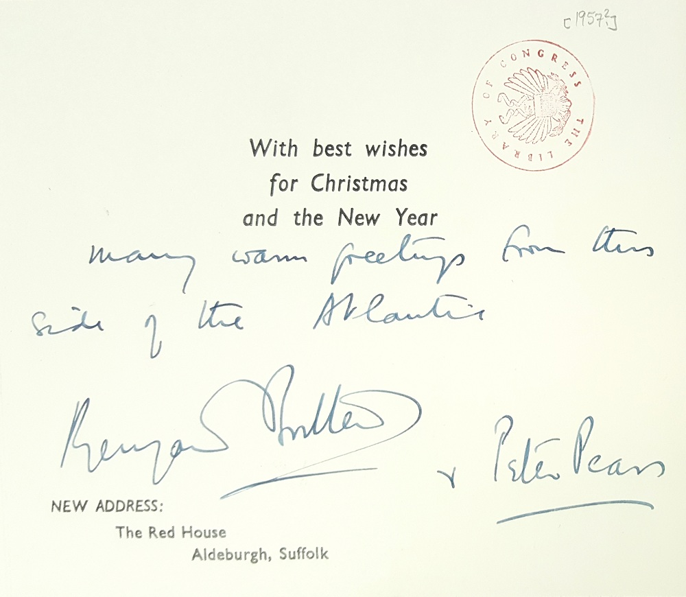 Inscription inside Christmas card from Britten and Pears, 1957