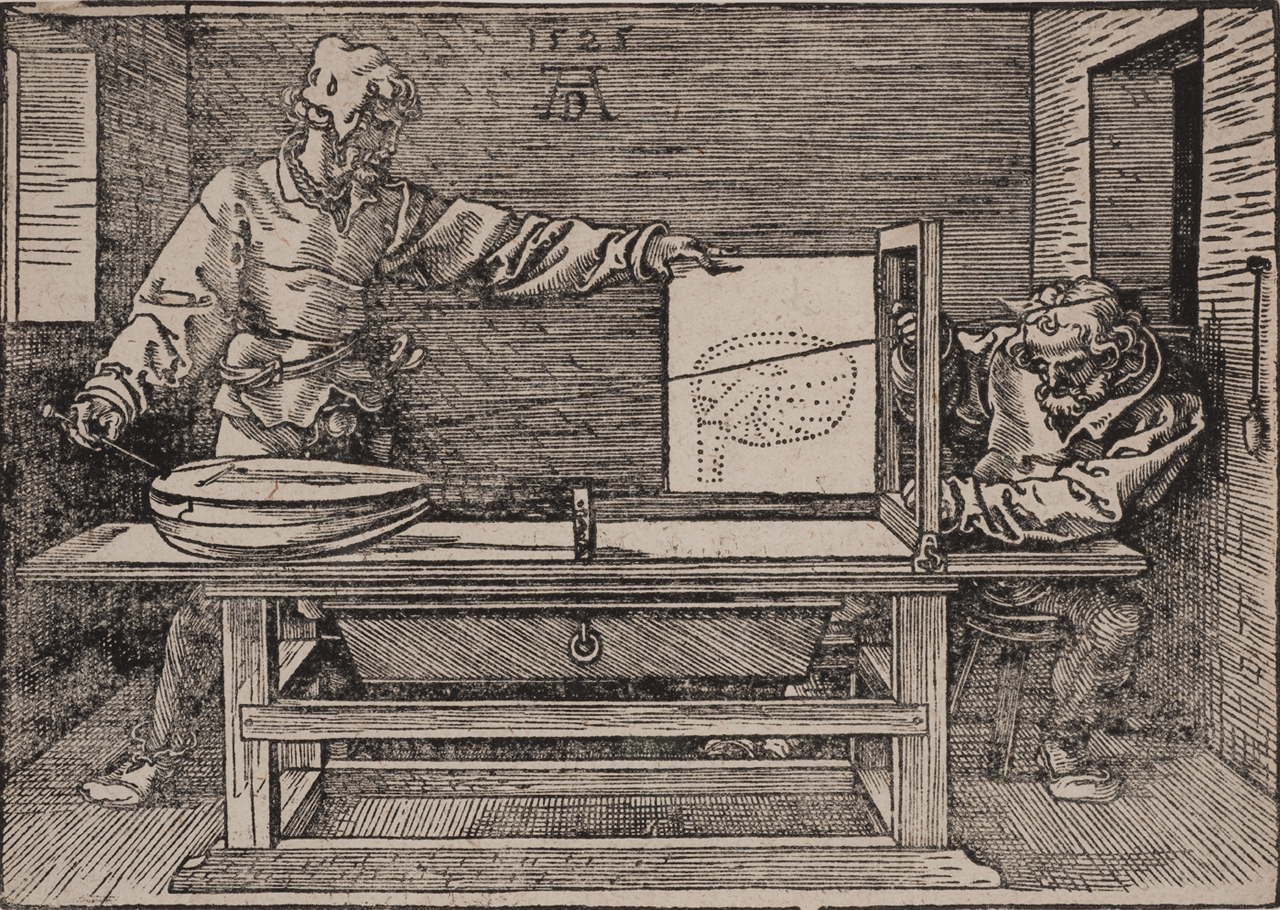 Durer, Draftsman drawing a lute (The Manual of Measurement), 1525