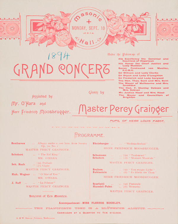 A. & W. Bruce (printers), Melbourne Program for Grainger concert at the Melbourne Masonic Hall, 10 September 1894.