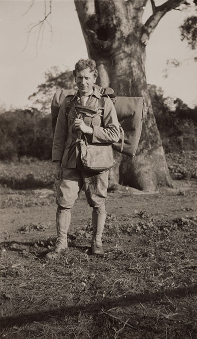 Dressed for South Australian desert tramp, taken at Richmond Park, Adelaide, 1924.