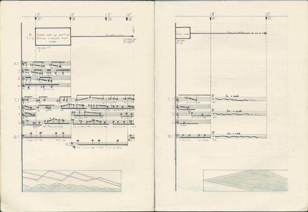 Ian Bonighton, <em> Sleep, for 16-part choir and tape <em>, 1968-9. Excerpt, pp. 14-15. Grainger Museum Collection 2017/23/2/2