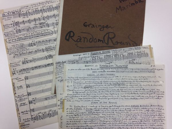Percy Grianger, Sketch for Random Round, 2 February 1943, showing four pages of manuscript and the cover in Percy Grainger's hand