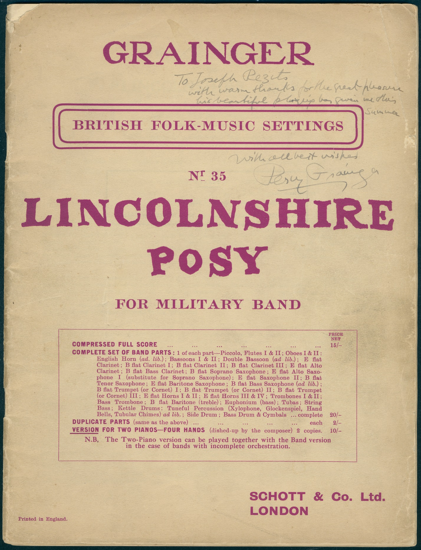 The front cover of Lincolnshire Posy, by Percy Grainger, version for 2 pianos 4 hands