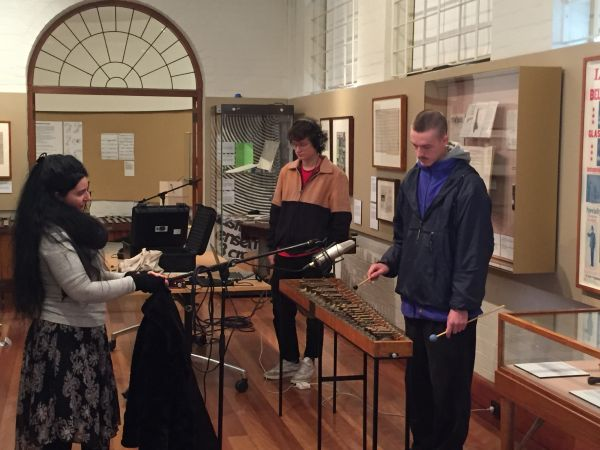 Image of students recording the sound of Percussion instruments at the Grainger Museum