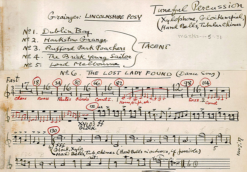 Lincolnshire Posy, version for wind band. Tuned percussion part in Grainger's hand.
