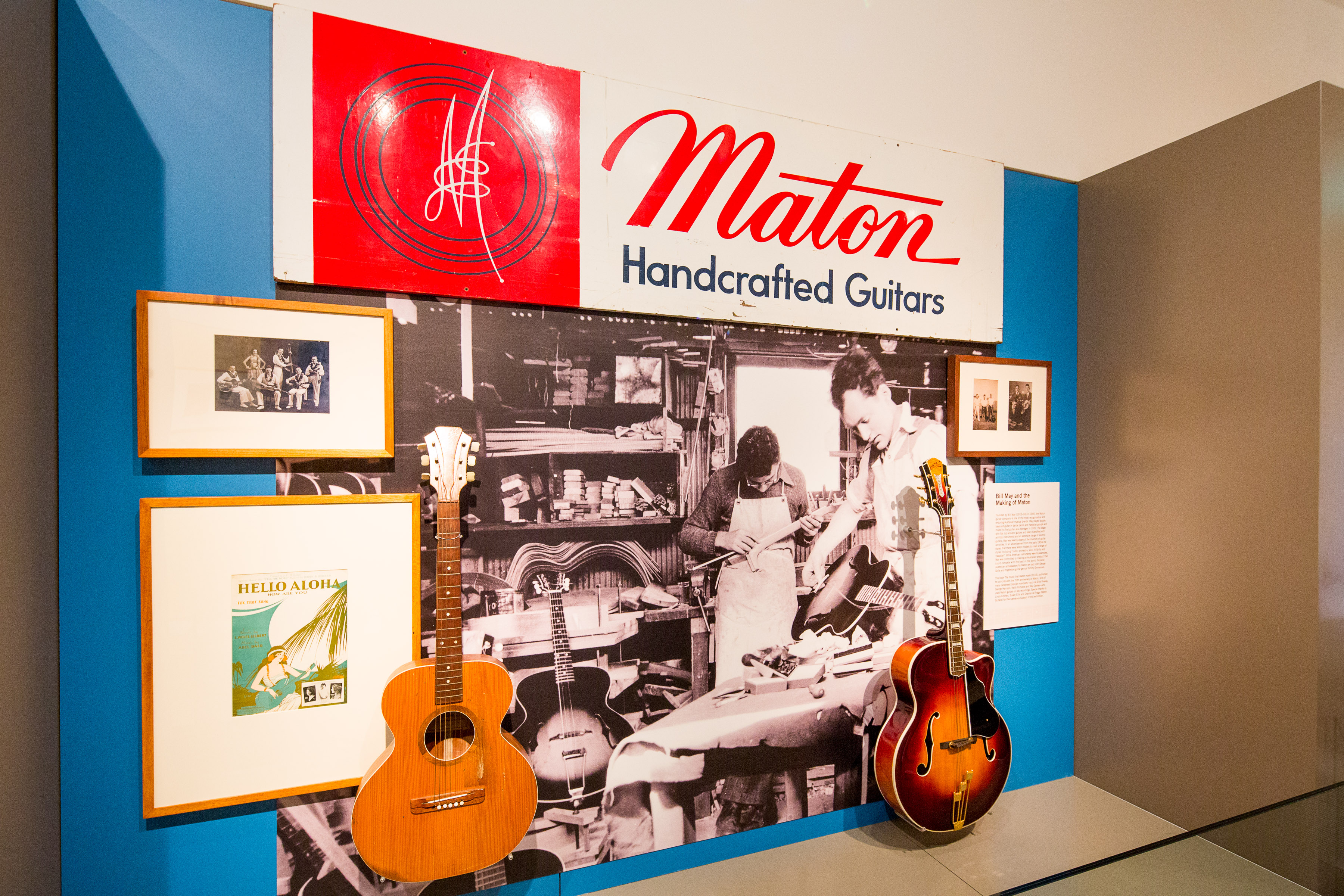 A display of guitars and paraphernalia relating to Maton guitars.