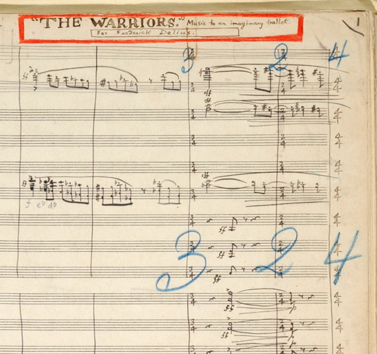 Detail of Grainger's manuscript for the full orchestral score of The Warriors, 1916.
