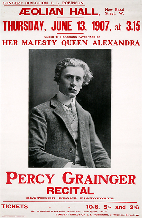 Publicity poster for a recital by Percy Grainger at the Aeolian Hall, London, Thursday 13 June 1907